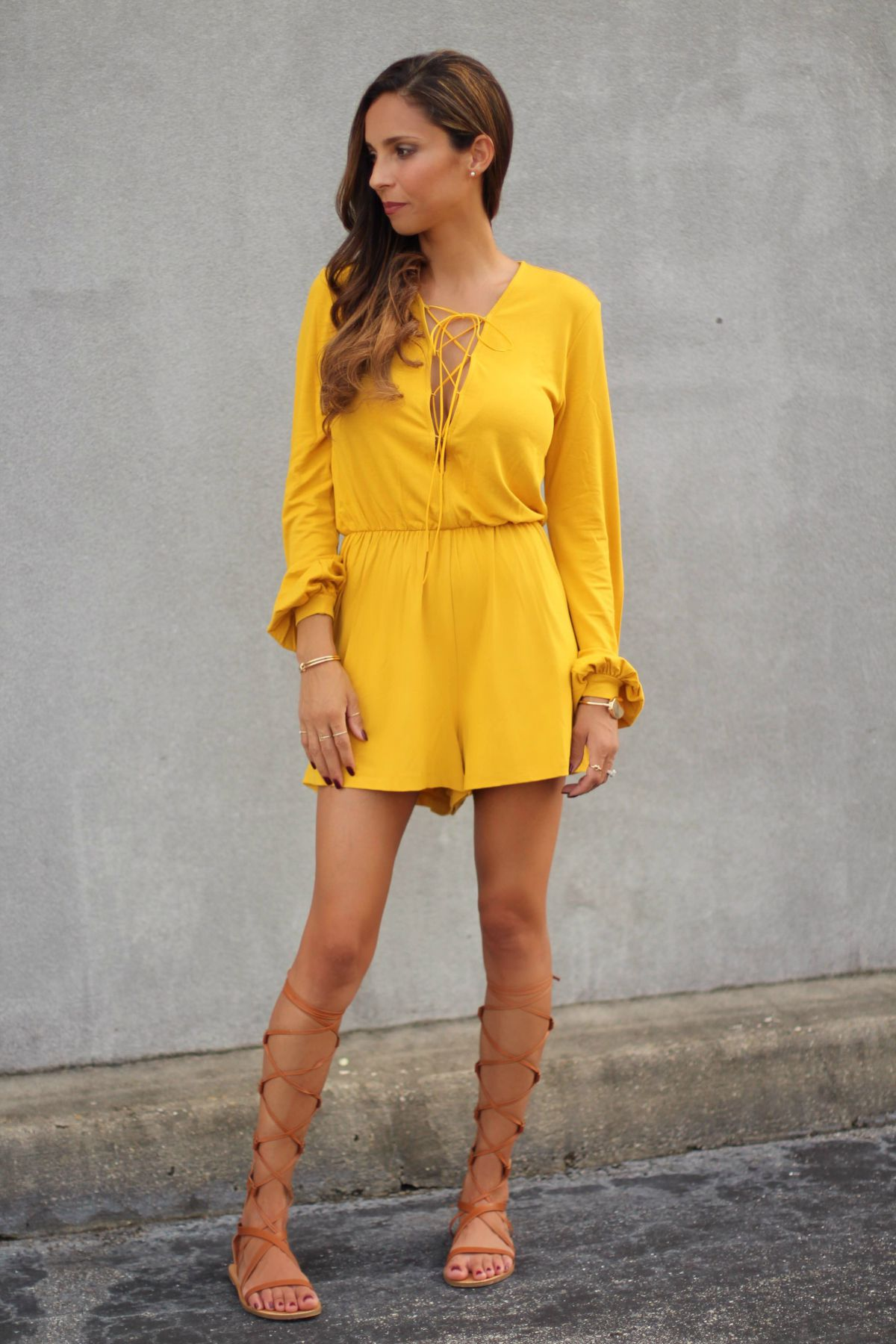 lace up mustard playsuit
