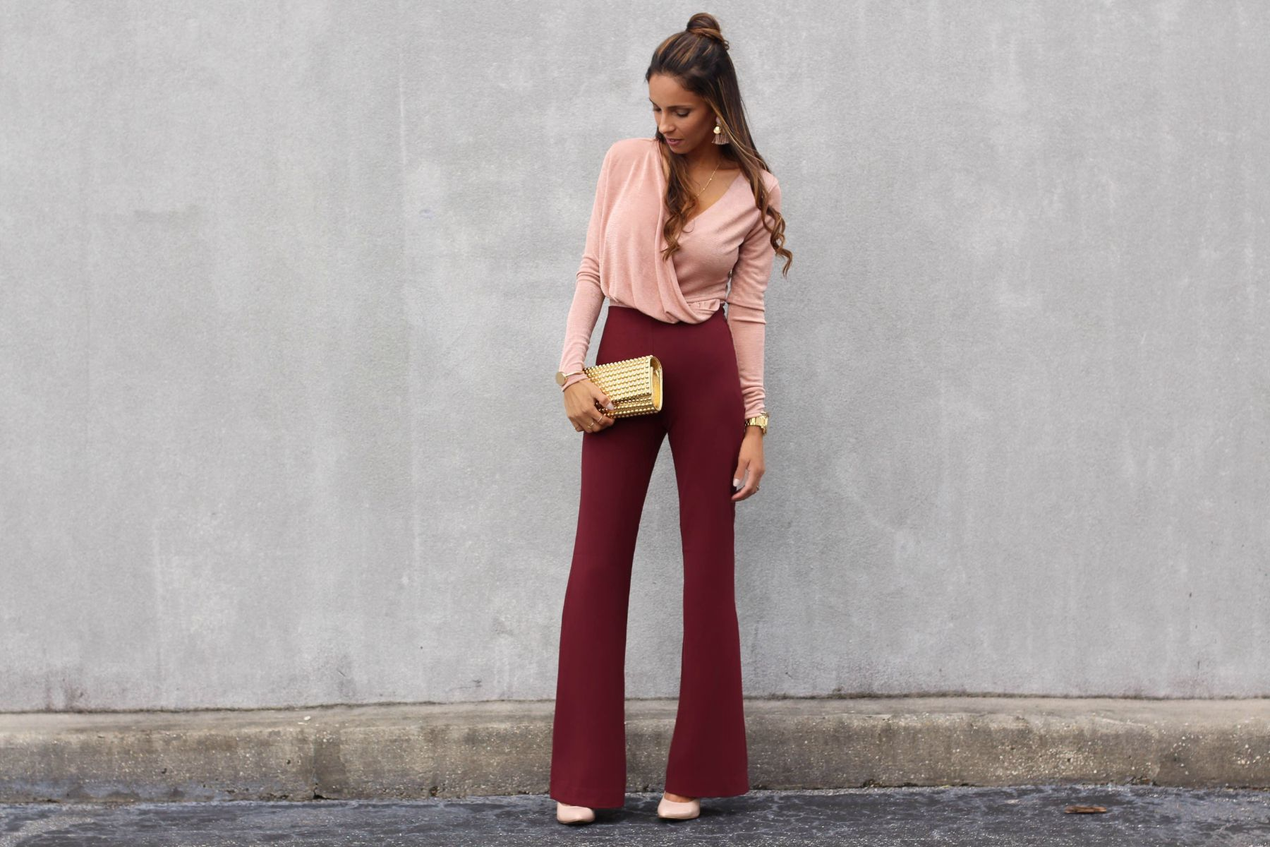 Blush bodysuit and burgundy pants