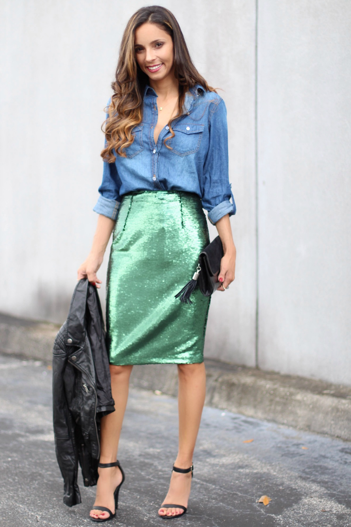 Emerald sequin skirt