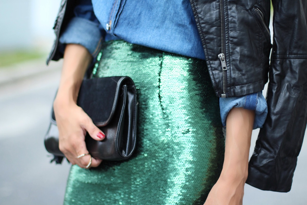 Emerald sequin skirt outfit