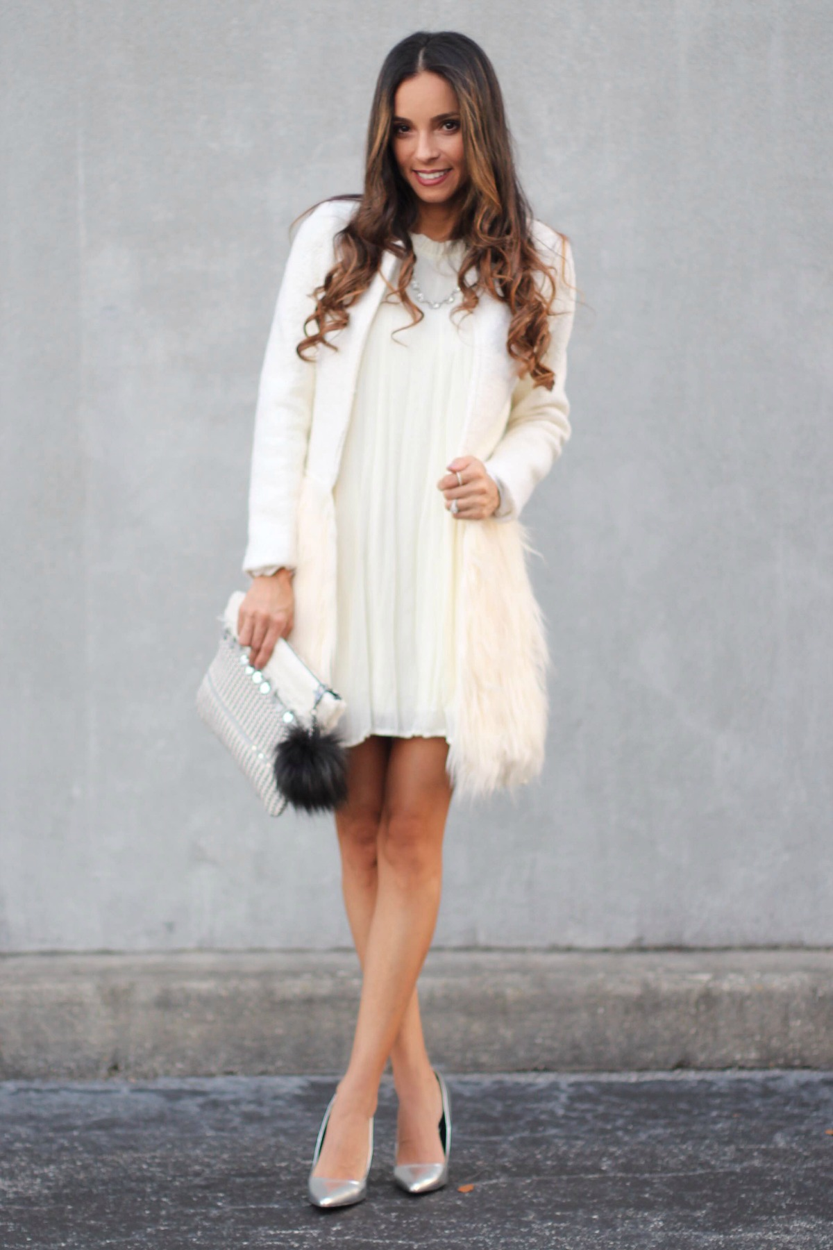 White Aylin fur bottom coat with babydoll dress