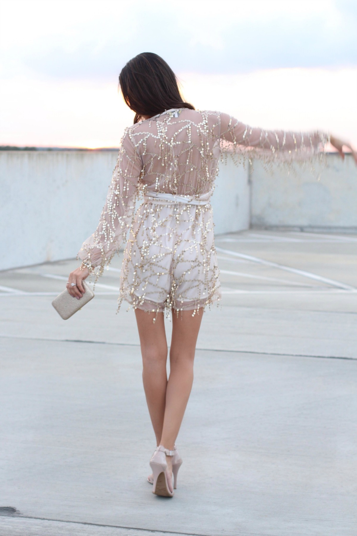 Fringe sequin playsuit