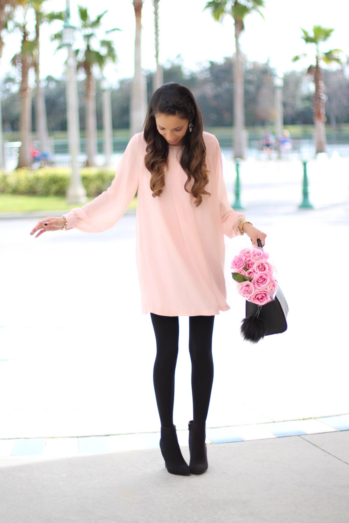 Blush tunic, black tights and booties
