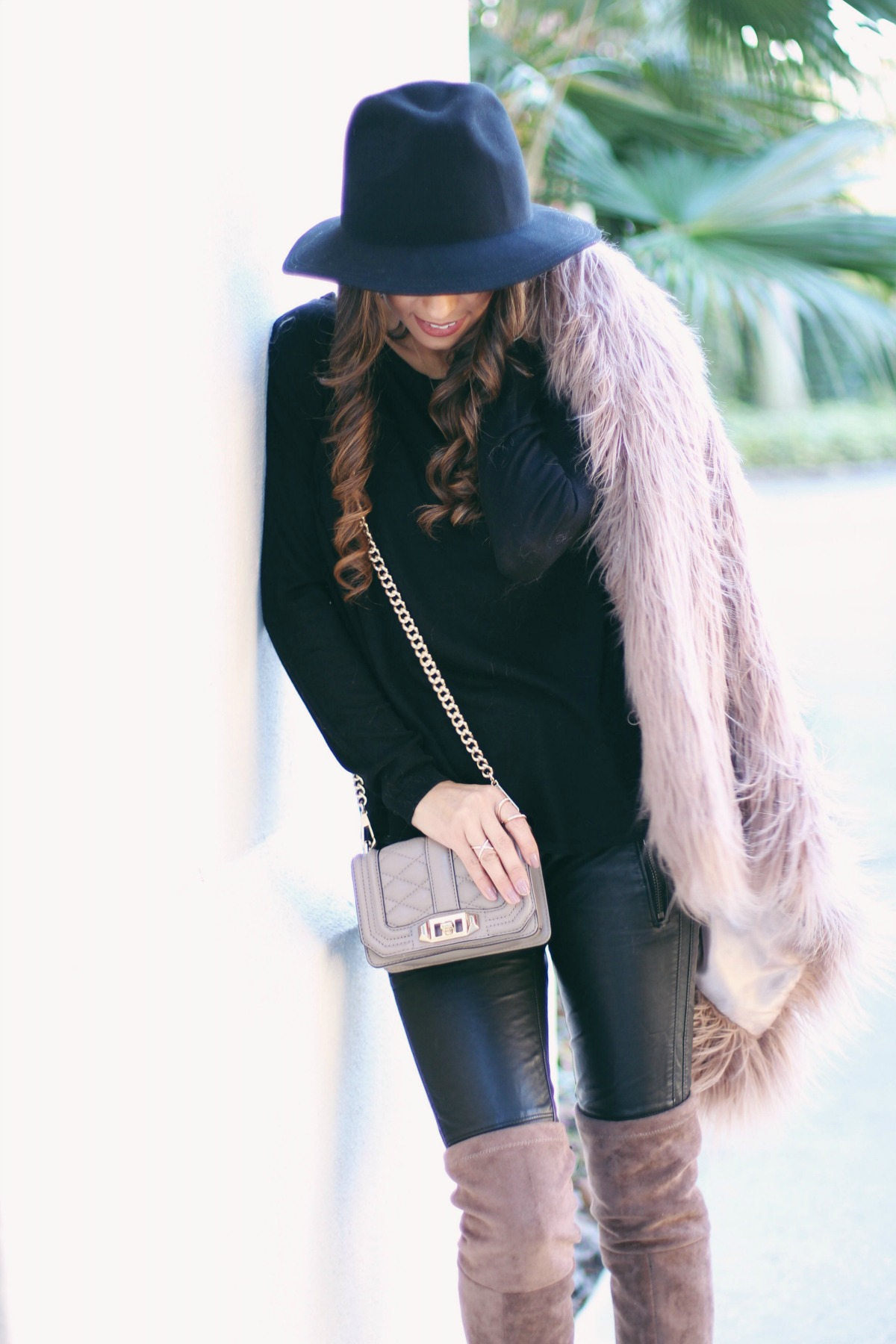 thigh high boots and fur coat
