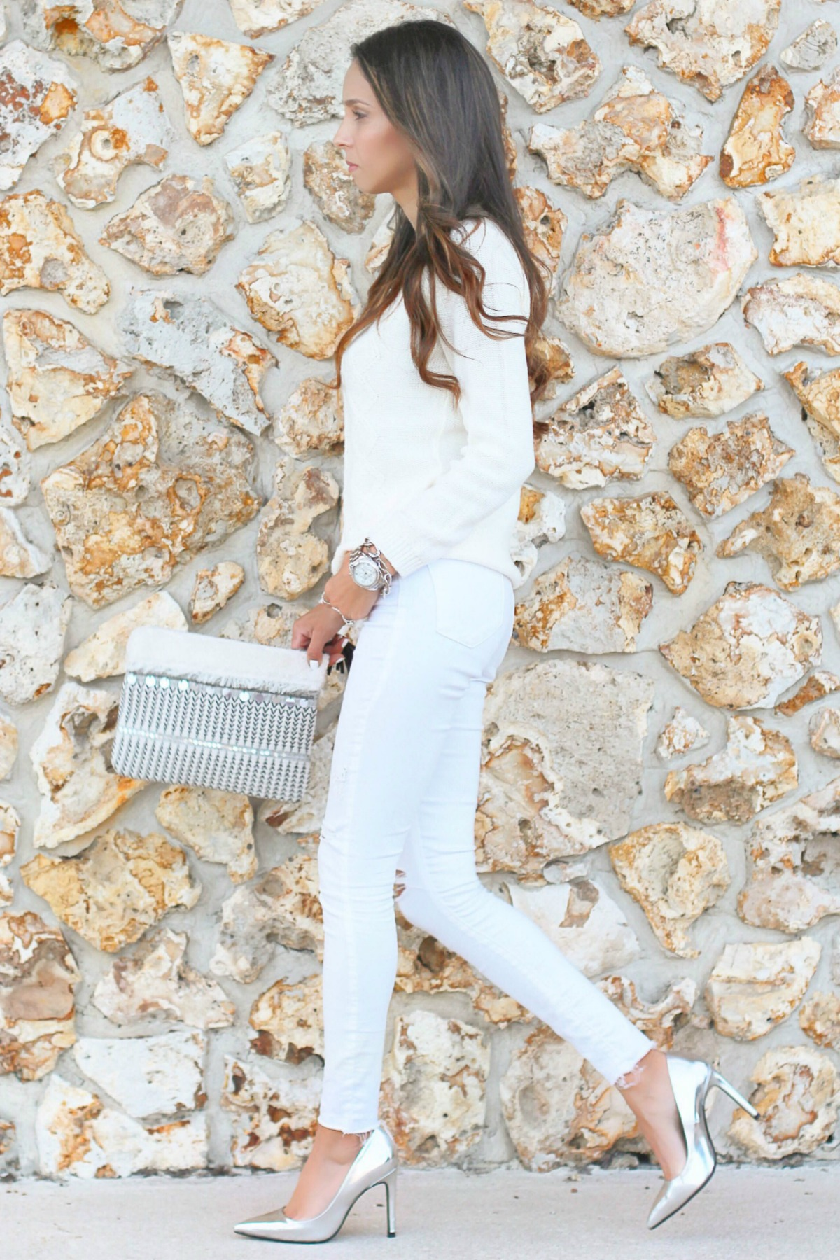 Winter Whites and Metallic Accents