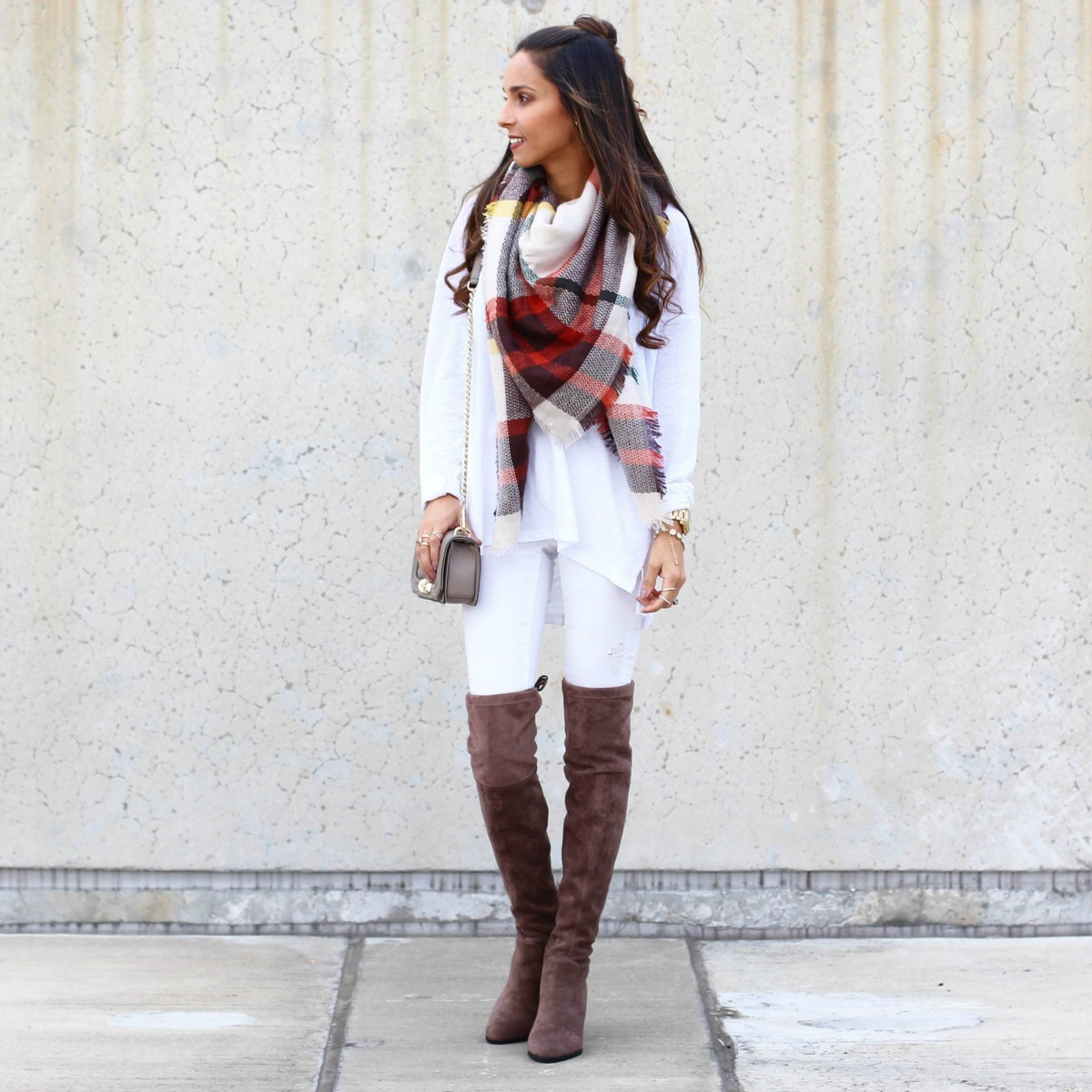 Plaid Scarf and Thigh High Boots