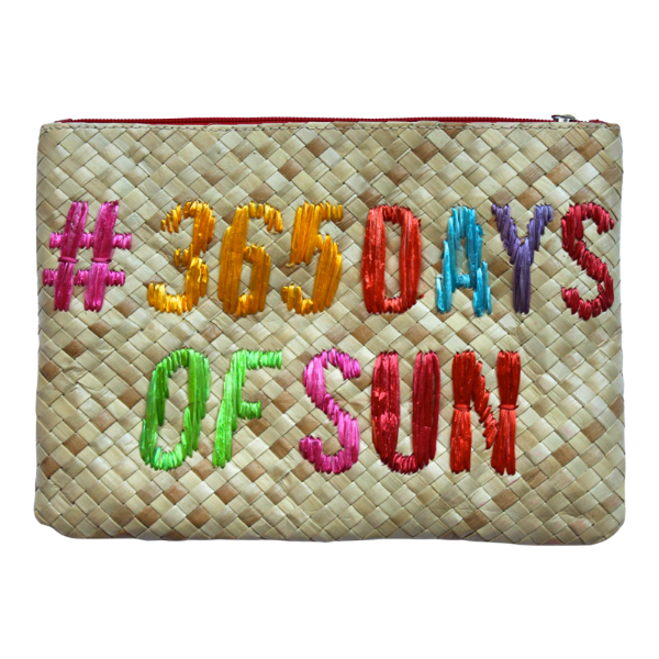 365 days of summer embroidered straw clutch
