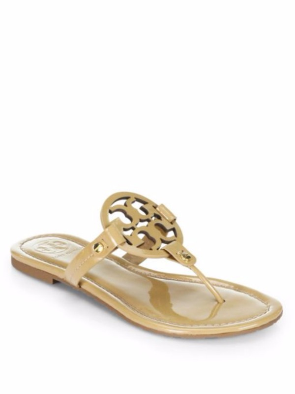 Tory Burch Miller Patent Leather Logo Thong Sandals - Sand