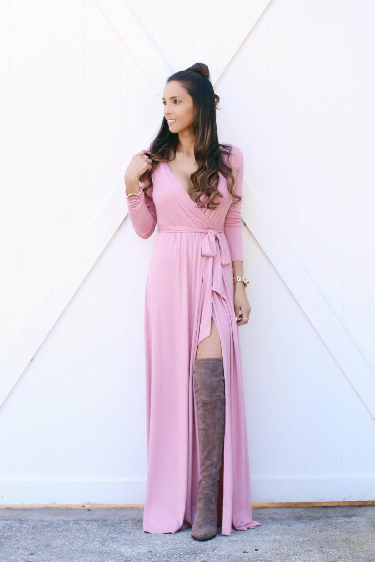 Pink Wrap Maxi Dress