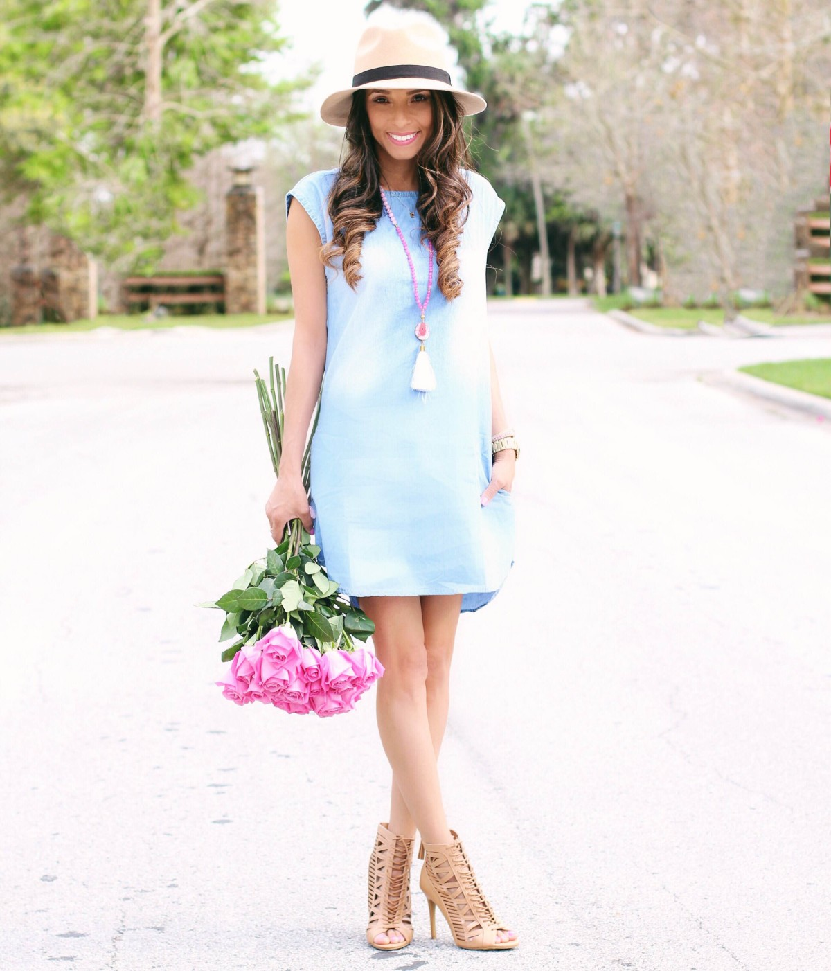 Chambray tunic dress with pockets, lace up heels and tassle necklace
