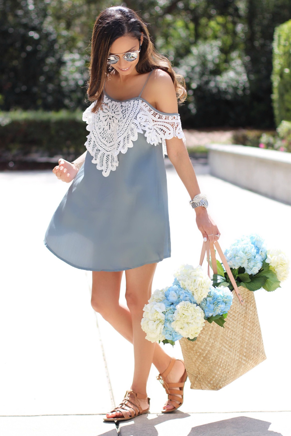 Off the shoulder tunic with lace detail and leather flats