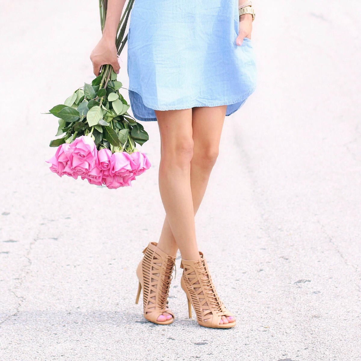 Chambray tunic dress with pockets and lace up heels