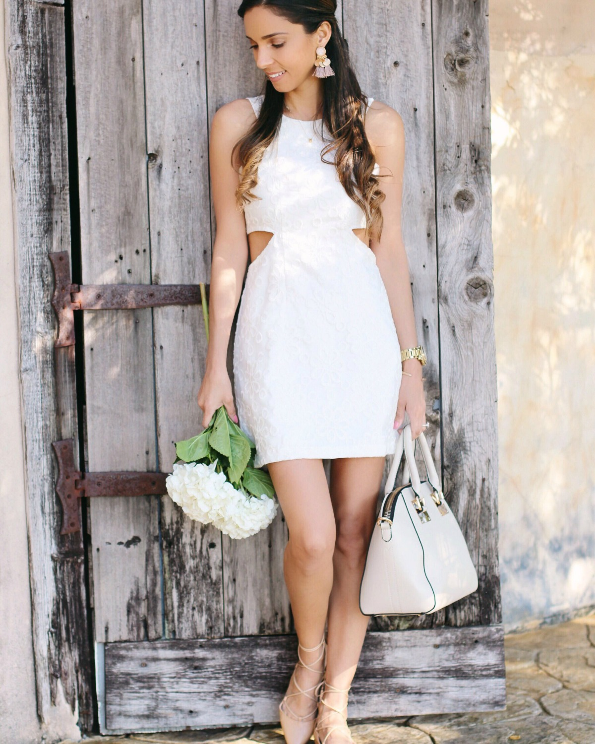 White dress gold accents