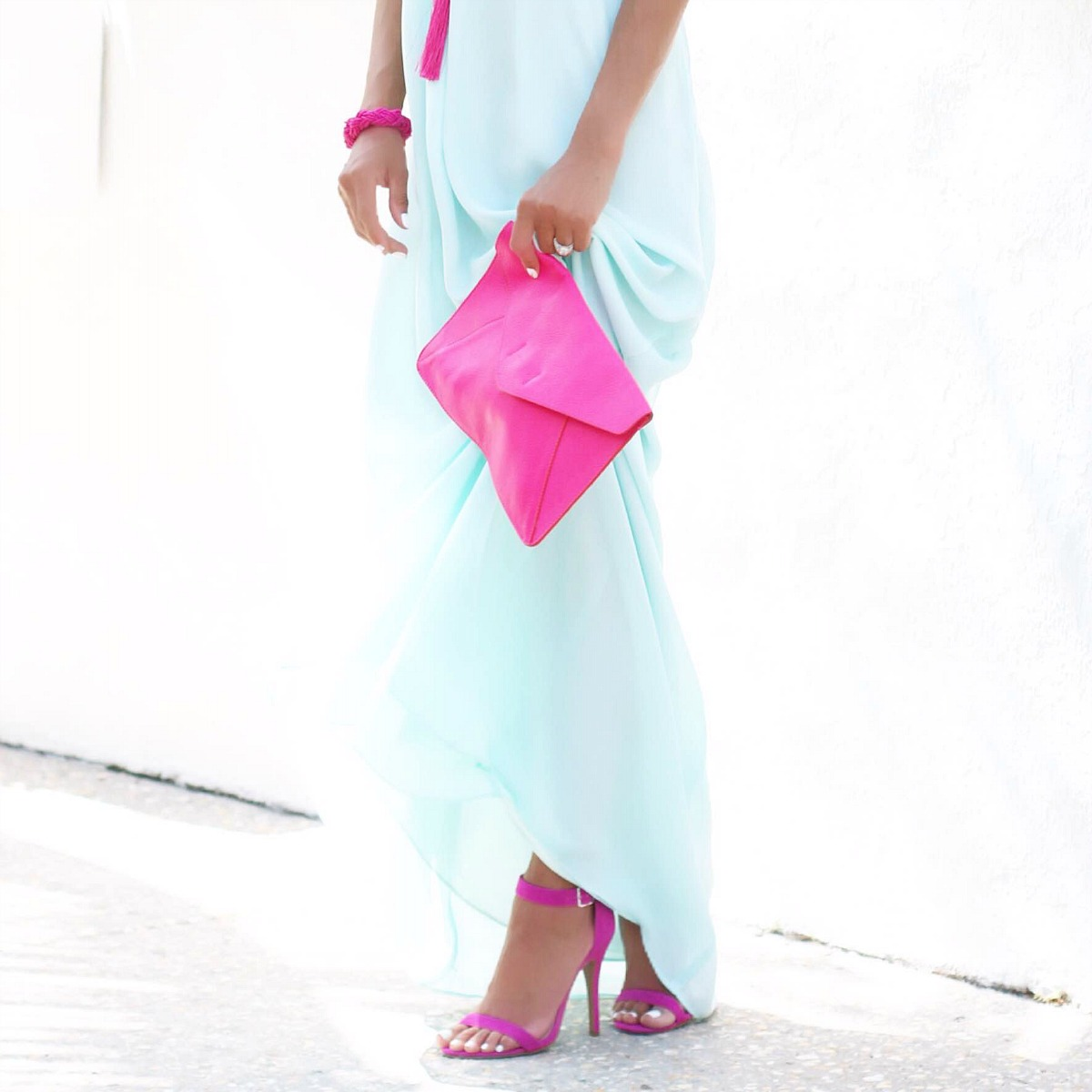 Mint maxi dress with fuchsia accessories