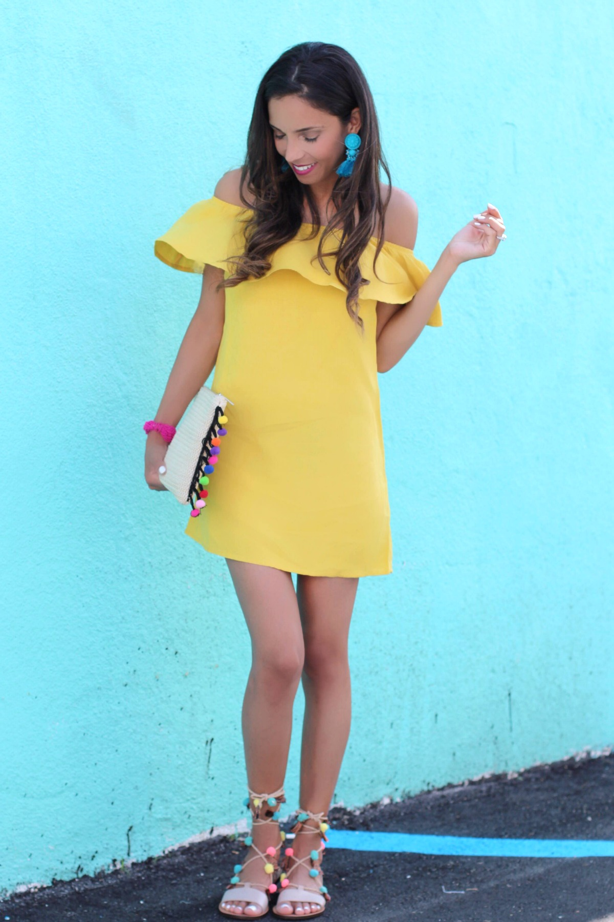 Off the shoulder yellow dress for Cinco de Mayo