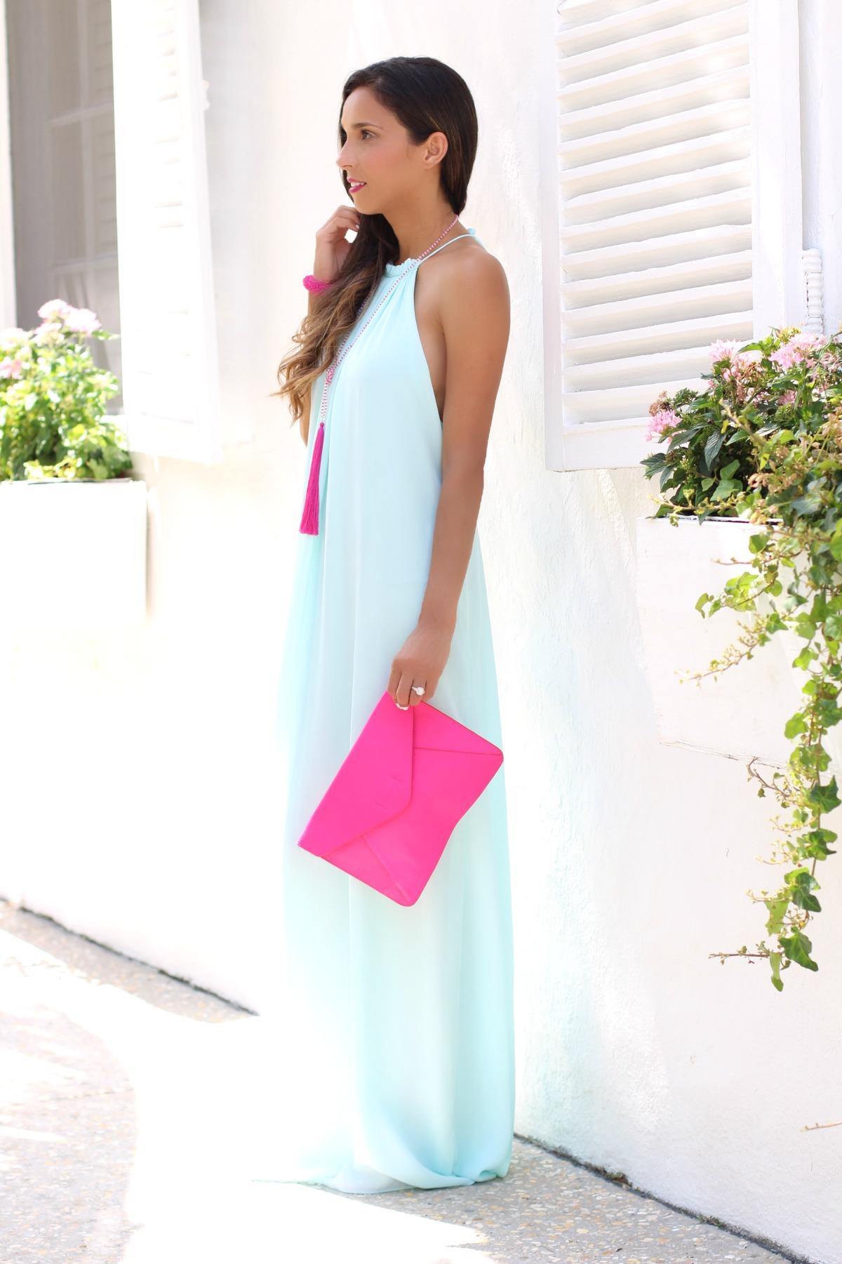Mint maxi dress with fuchsia accessories