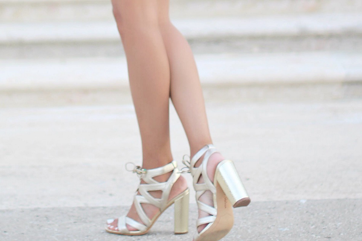 Gold lace up high heel sandals