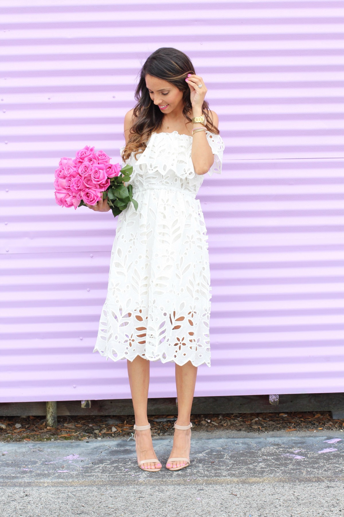 White lace off the shoulder midi dress