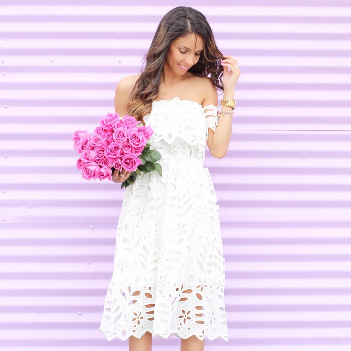 White lace off the shoulder midi dress