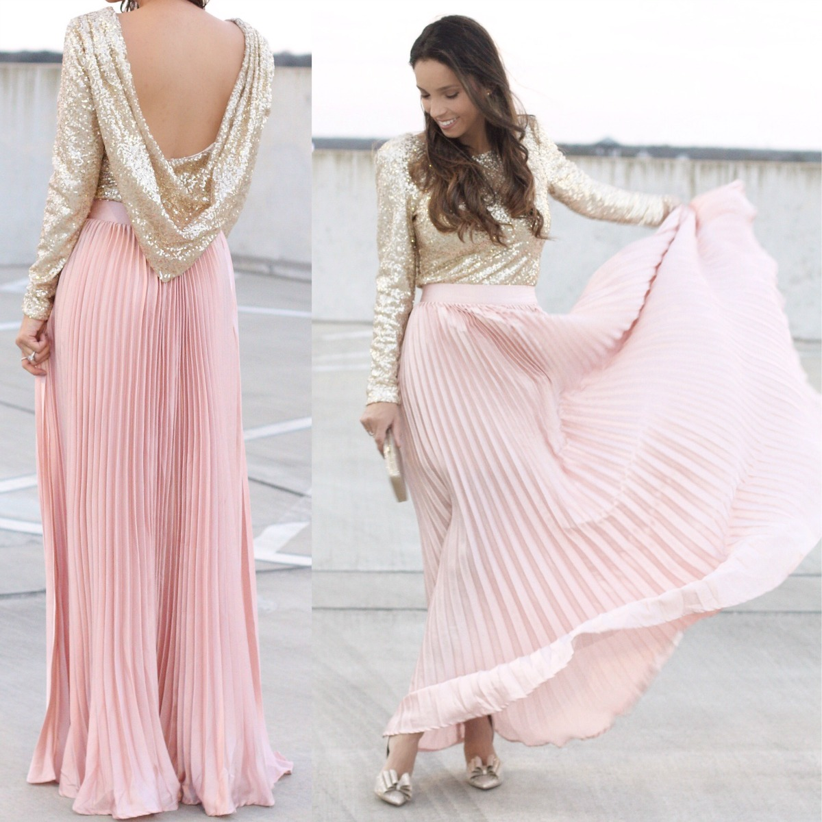 metallic blush skirt