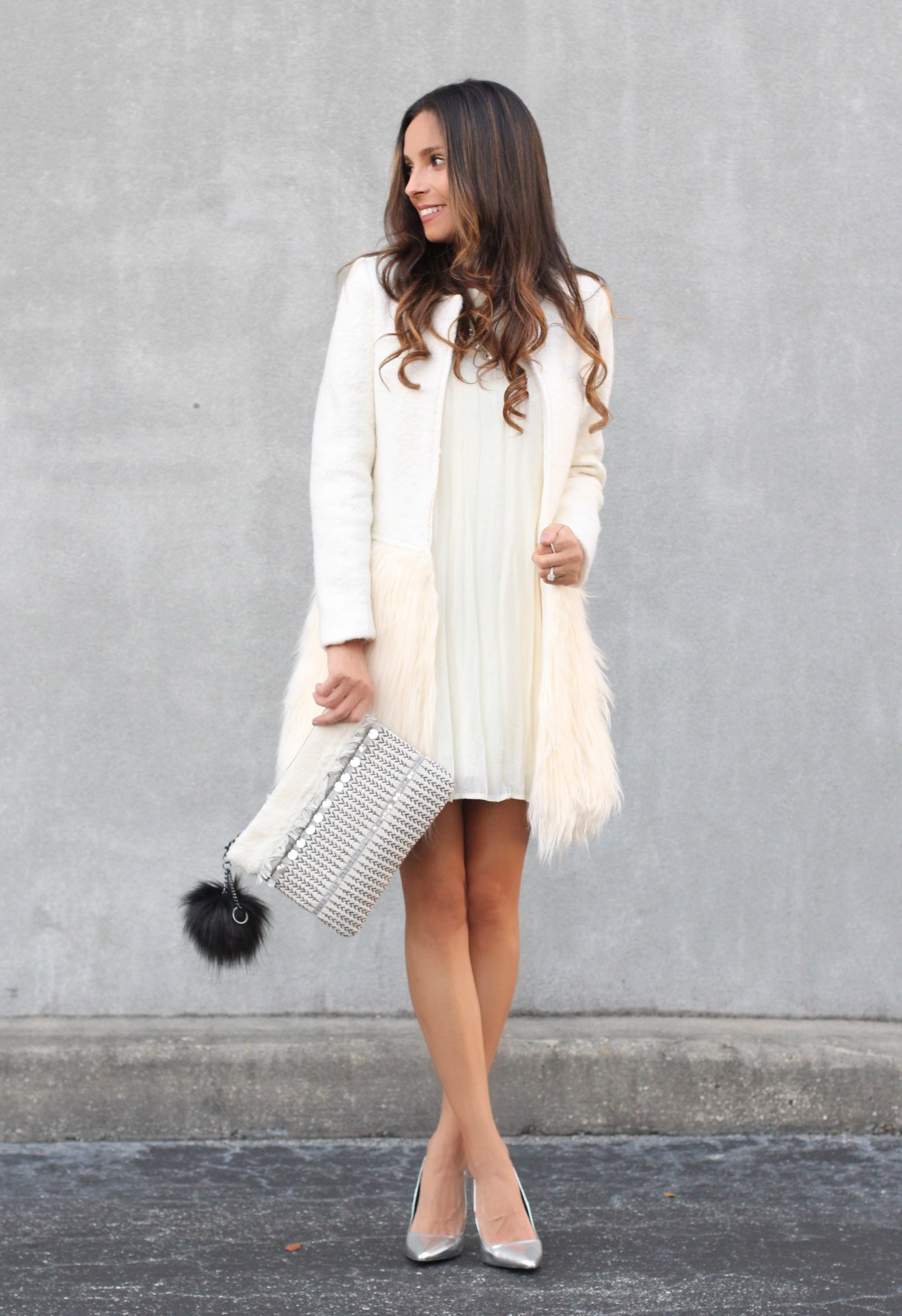 White faux fur bottom coat
