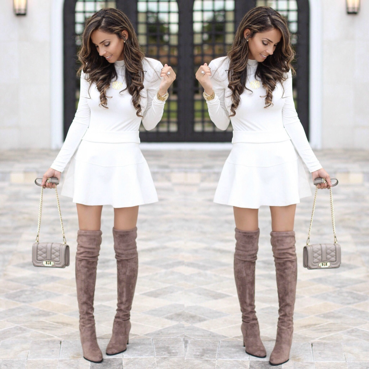 White top, white skirt and taupe thigh high boots