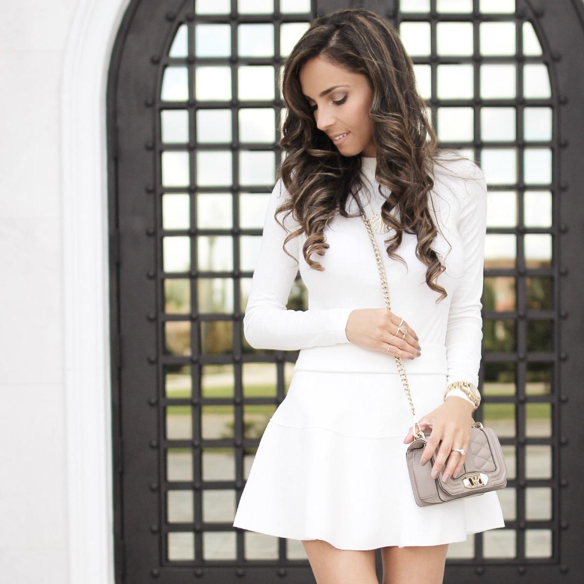 White top, white skirt