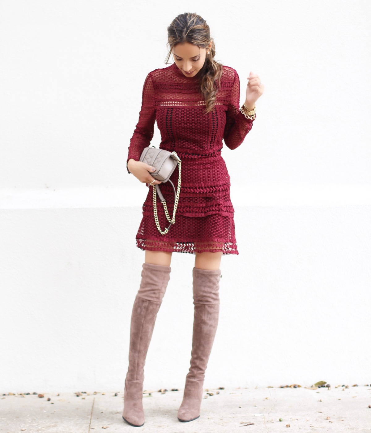 Burgundy lace dress and thigh high boots
