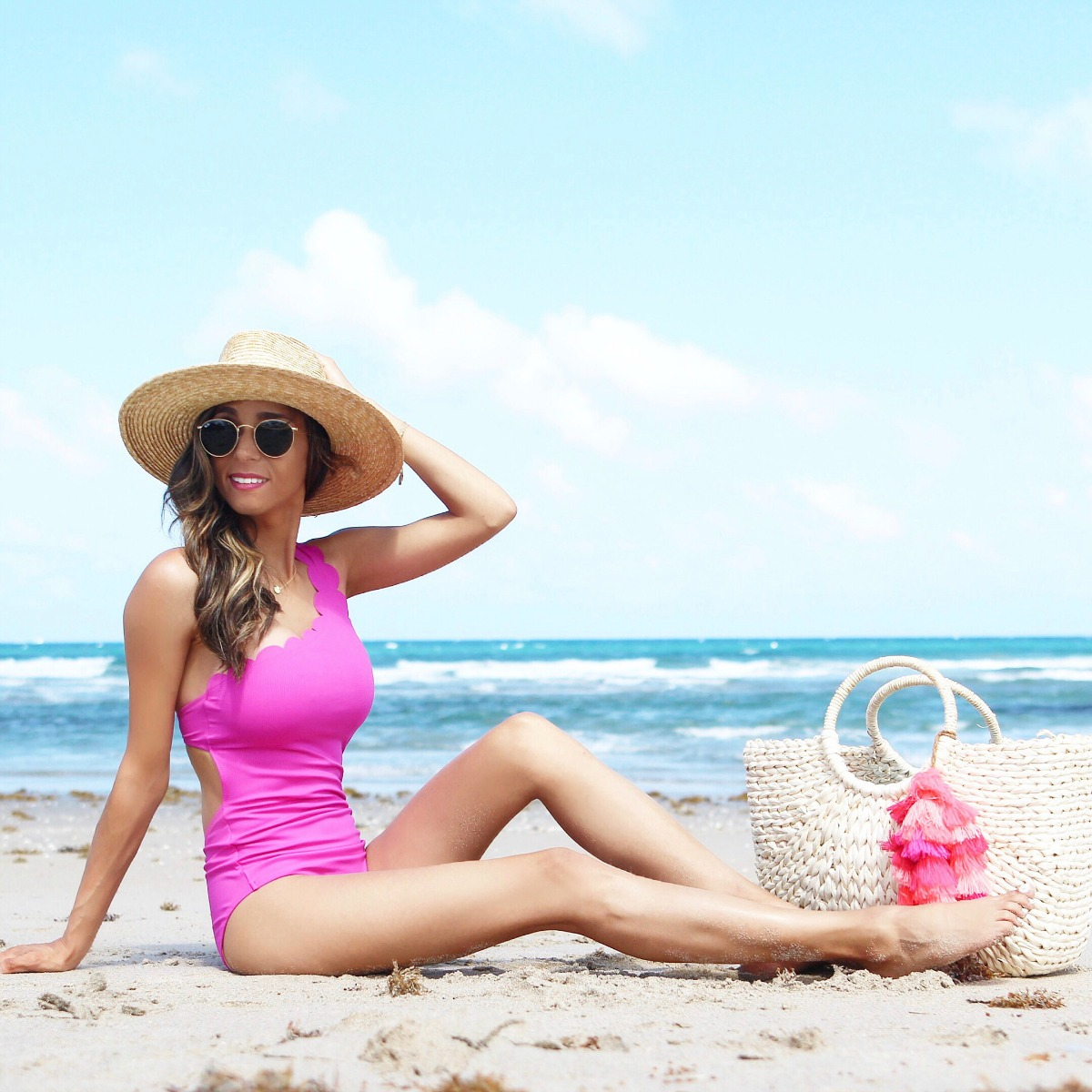Hot Pink Scalloped One Shoulder One Piece Swimsuit