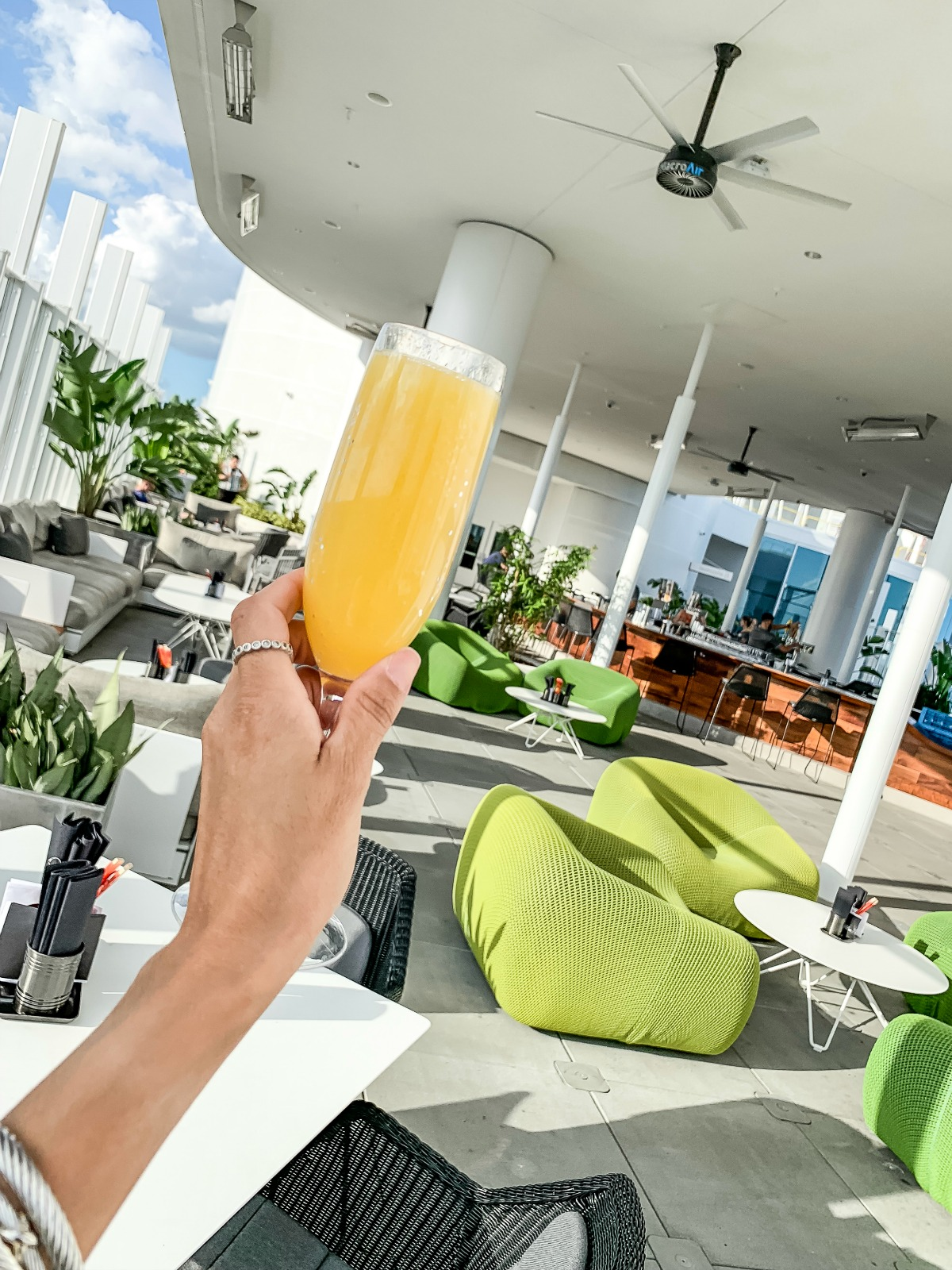 Rooftop drinks with Eleana at Universal's Aventura Hotel